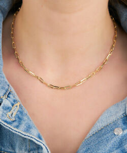 """Fashion Paperclip Chain Link Necklace Sizes 16 18 20 22 24"""" 18K Gold Plated Gift"""