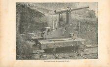 Plate forme roulante sur rail tourelle du commandant Mougin GRAVURE PRINT 1895