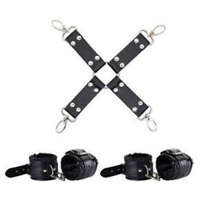 Leather Hog Tie Leg Ankle Wrist Cuffs Bondage Restraints Cuff BDSM Belt Strap