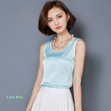 Women Satin Vest Plain Sleeveless Loose Sweat Shirt Camisole Blouse Top Fashion