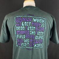 Alore Nature Conservation Shirt VTG 90s Single Stitch Size Large Can't Eat Money