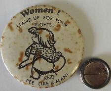 "WOMEN!STAND UP FOR... Vtg 1970`s Very Large 63mm-2.5""Pin Badge Funny Humour"
