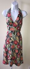 Saks Fifth Avenue Threads Floral Print Halter Dress Sz 2 Multicolor 100% Linen