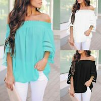 Fall Women's Off Shoulder Elastic Blouse 3/4 Bell Sleeve Casual Loose Top Shirt