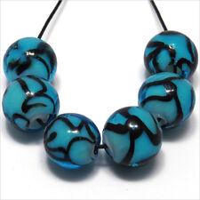 Lot 4 Round Beads glass Lampwork way Murano 0 15/32in Blue