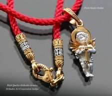 ORTHODOX RUSSIAN PENDANT GUARDIAN ANGEL PROTECTOR SILVER+999 GOLD+NECK CORD SET