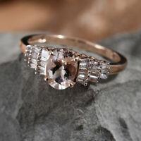 Rare Marropino Morganite/Baguette Diamond 9K Rose Gold Ballerina Ring Size N/6.5