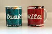x2 Makita rusty look tool Oil Can Gift oil Mechanic Gift Tea Coffee mugs vintage