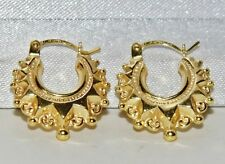 9ct Yellow Gold Victorian Style Gypsy Creole Earrings -