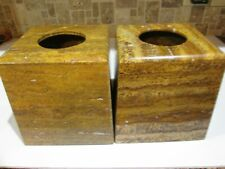 "Two Beautiful Golden Travertine Natural Stone Tissue Covers 5.25""x 5.25""x 6"""