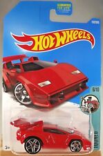 2017 Hot Wheels #152 Tooned 6/10 LAMBORGHINI COUNTACH Red w/Pr5 spoke wheels