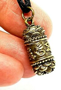 Hidden Vial Stash Pendant Om Lotus Mantra Tube Protection Buddhist Cord Necklace