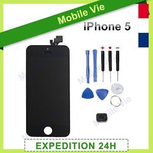 ECRAN VITRE TACTILE + LCD RETINA SUR CHASSIS POUR IPHONE 5 NOIR / BLANC + OUTILS