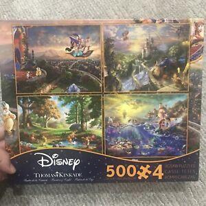 NEW Ceaco Thomas Kinkade 4 in 1 SEALED Disney Puzzle 500 Piece