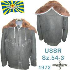 RARE Sz.54-3 SOVIET PILOT AIR FORCE BOMBER FUR-COAT jacket sheepskin + hood 1972
