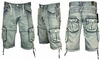 MENS BRAND NEW DENIM SHORTS CARGO COMBAT SUMMER DESIGNER ETO ALL SIZES 28 TO 48