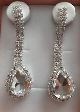 Silver Sparkling Rhinestone Crystal Teardrop Long Dangle Earrings Women Jewelry