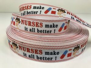 "By The Yard 7/8"" Nurses Make It All Better Grosgrain Ribbon Lisa"