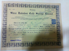 SHREE LAKSHMI COLD STORAGE LTD STOCK SHARE CERTIFICATE 1 INDIA REVENUE 1949