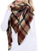 Women's Plaid Blanket Tartan Winter Scarf Warm Cozy Wrap Oversized Shawl Cape