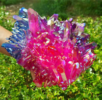 AAA 3590G Beautiful Rainbow Titanium Flame Quartz Crystal Cluster Specimen EE22