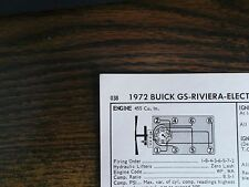 1972 Buick & GS Series Models 455 CI V8 4BBL SUN Tune Up Chart Excellent Shape!