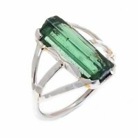Green Tourmaline Natural Gemstone Handmade 925 Sterling Silver Ring Size 5 US