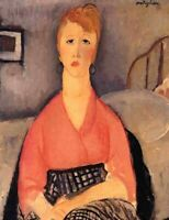 Pink Blouse Modigliani Fine Art Poster Print on Canvas HQ Home Decor Small 8x10