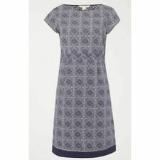 EX WHITE STUFF Purple Lilac Cotton Short Sleeve Fitted Shift Dress Size 8 -16