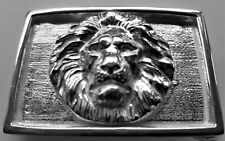 """Solid Sterling Silver """"The Lion"""" Belt Buckle set in a Solid Frame"""