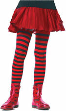 Morris Costumes Girls Striped Stretch Child Tights Black Red 7-10. UA4710BRDLG