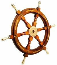 "Nautical Brass Anchor Vintage 24"" Wooden Ship's Wheel Boat Steering Home Decor"