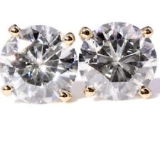 3 Ct Round Moissanite Earrings Four Prong Solitaire Stud Solid 14K Yellow Gold