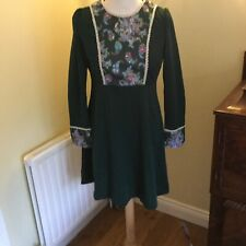 Vintage 60s 70s  green lace trimmed dress size 14