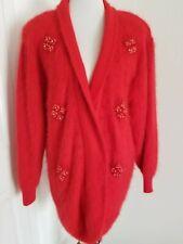 Vintage 80s Lamshini Fuzzy Angora Sweater Jacket Size M Red