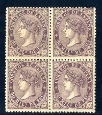 Sellos de España 1868 nº 98 violeta 50 m. Bloque de Cuatro Isabel II Nuevos