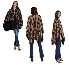WOMENS PONCHO LADIES BROOCH FASTENING CHECKED PATTERN SHAWL THROW-OVER CARDIGAN