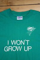 Vtg Hanes L 42-44 50/50 Green Peter Pan Play Workshop Theater I Wont Grow Up Tee