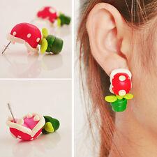1 Pair Polymer Clay Piranha Plant Corpse Flower Ear Studs Earrings Nice Gift