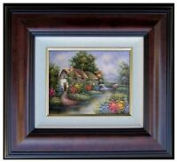 Framed Hand Painted Oil Painting, Streamside Cottage with Watermill, 8x10in
