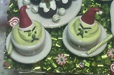 Dollhouse Miniature Handmade 'Grinch Desserts' Christmas Food 1:12 Artisan