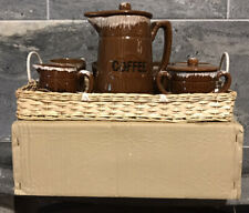 VTG DEL CORNADO NASCO JAPAN Coffee Pot MUGS TRAY DEAD STOCK NOS Brown 10PC SET