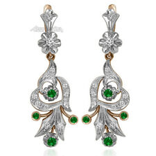 Russian Style Genuine Diamond & Colombian Emerald in 14k Rose and White Gold