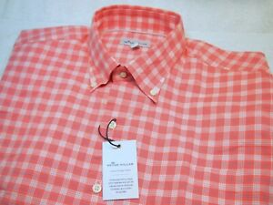 Peter Millar Stretch Cotton Coral Pink Fabian Plaid Sport Shirt NWT Large $148