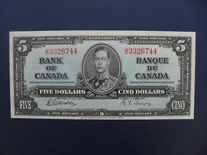 NICE 1937 CANADA $5 BANKNOTE ORIGINAL GVF