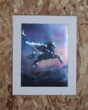 """VINTAGE DUFEX FOIL ART PRINT """"PEGASUS WINGED HORSE"""" Made in ENGLAND 8x10"""" matted"""