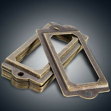 12Pcs Antique Brass Drawer Label Pull Frame Handle File Name Card Holder+Screws