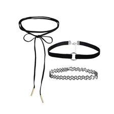 Halskette Choker 3er Set Leder Samt Spitze Trend Blogger Damen Halsband