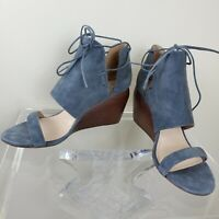 Kelsi Dagger Brooklyn River Sandal Shoes Suede Wedge Ankle Tie Women's Size 10