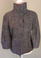 Ann Taylor Sz S Blazer Coat Jacket Tweed Career Black White Sleeve Wool Blend